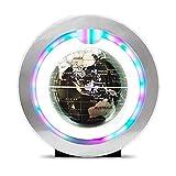 Volle Erde drehen 4 Zoll Floating Globe mit LED-Leuchten O-Typ Magnetschwebebahn Rotierende Weltkarte für Home Desk Dekoration, Geographie-Bildung Globus für pädagogische Geografie ( Farbe : Silber )