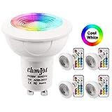 Lampadine LED GU10 Bianco Freddo 3W Colorate Cambia lampada Dimmerabile Faretto, Telecomando 21 Tasti, RGB + 6000K 200LM AC85-265V Lampadine Alogene 20W Equivalenti (4 Pezzi)
