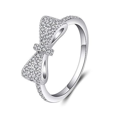 Souarts Ring Damen Schmuck Silber Farbe Edelstahl mit Zirkon Strass Schleife Geschenk für Frauen