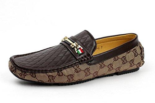 hommes à enfiler Créateur mocassins chaussures Décontracté bateau pont Mocassin JAS mode Marron