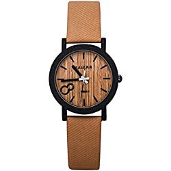 SAMGU Quartz Men Watches Casual Wooden Color Leather Strap Watch Wood Male Wristwatch Style 2