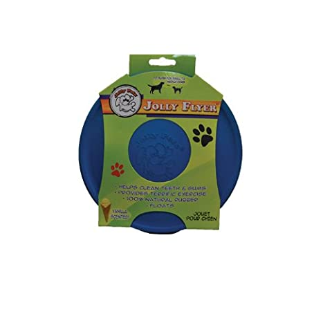 Jolly Pets Flyer Natural Rubber Floating Disc Interactive Dog Chew Toy Blue 7.5