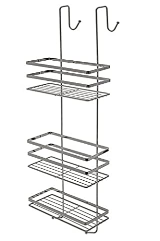 CHROME 3 TIER HANGING OVER THE DOOR SHOWER CADDY CUBICLE TIDY BATHROOM TOILETRIES RACK RAIL SHELVES ORGANIZER by Express trading