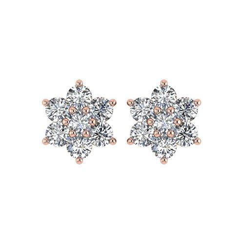 Delight femmes de diamant 14K Boucles d'oreille Clous en forme de fleur (VS1-VS2, 11/2carat)