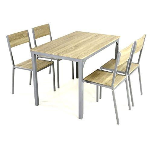 5tlg Küchenset Esszimmerset Sitzgruppe Essgruppe 1 Esszimmertisch 4 Stühle geschwungen geschmackvolles Design Eiche Dekor MDF Platte