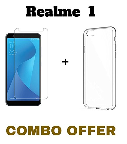 M.G.R.J Tempered Glass and Transparent Back Cover [Combo Pack] for Realme 1