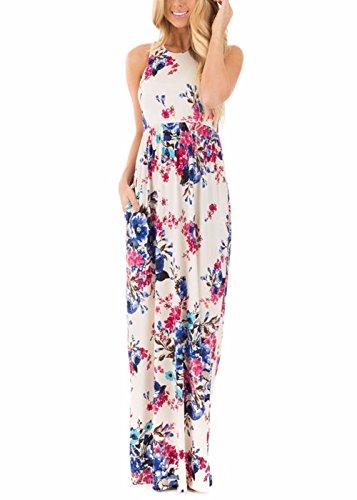 Vestito casuale lungo senza maniche senza maniche da stampa floreale delle donne con stampa a tasca Beige