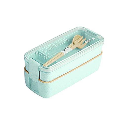 chenqian1 Bento Box Weizenstroh Brotdose 750 Ml Gesundheitsmaterial 2-Lagig Brotdose Vorratsbehälter Brotdose Vorratsdose Mikrowellengeschirr @Green_United Tate_750Ml_2