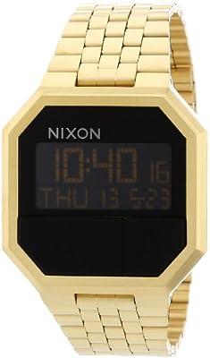 Nixon Re-Run A158502-00 - Reloj digital de cuarzo unisex, correa de acero inoxidable chapado color dorado (alarma, luz, cronómetro)
