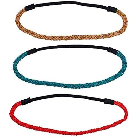 LUX accesorios Boho Cuentas Trenzado Cabeza Wraps Teal marrón (3pc)