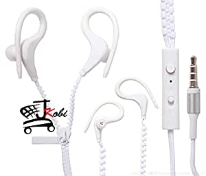 Trendy Zipper Secure-Fit Sports In-Ear Headset Earphones With Mic Compatible For Samsung Metro -White