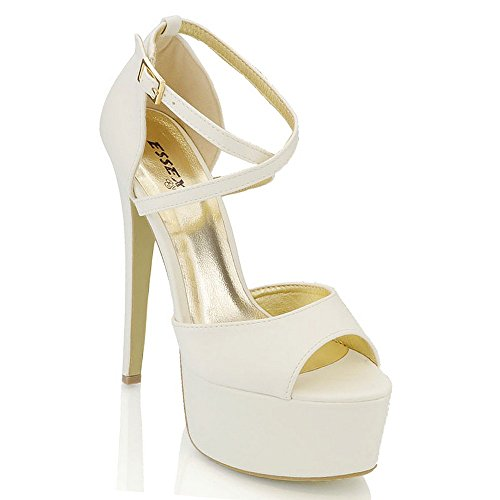 ESSEX GLAM Sandalo Donna Peep Toe con Lacci Plateau Tacco a Spillo Alto Bianco Glitter