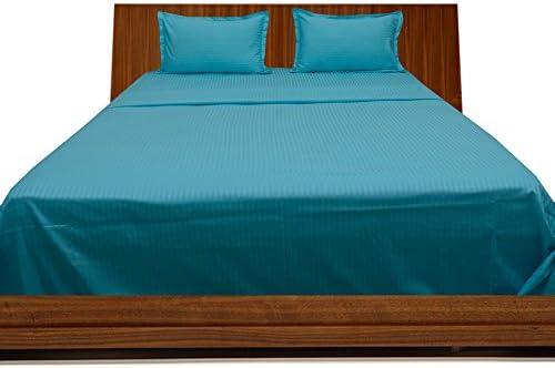 SCALA qualità Premium in Cotone Egiziano 600 Fili Set Set Fili Lenzuolo con Angoli 100% Cotone 300 gsm, King, Coloreee Blu Turchese con Strisce 600TC efe159