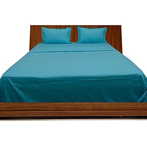 Super Soft 350Fadenzahl 100% Baumwolle 5-teiliges Bettbezug-Set mit Spannbettlaken Spannbetttuch, Euro, Super King Size, türkis blau/Blaugrün Streifen