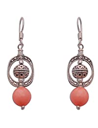 Contemporary Style Orange Silver Drop Earrings