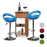Relaxdays Taburete Alto Cocina Giratorio, Metal-Plástico, Azul, 99 x 46 x 39 cm, 2 Unidades