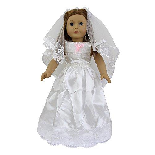 ZITA ELEMENT Puppenkleidung Prinzessin Hochzeitskleid + Schleier passt für 18 Zoll American Girl Doll 45-46 cm Mädchen Barbie puppen Weiß (Zoll Hochzeit Puppen 18 Für Kleid)