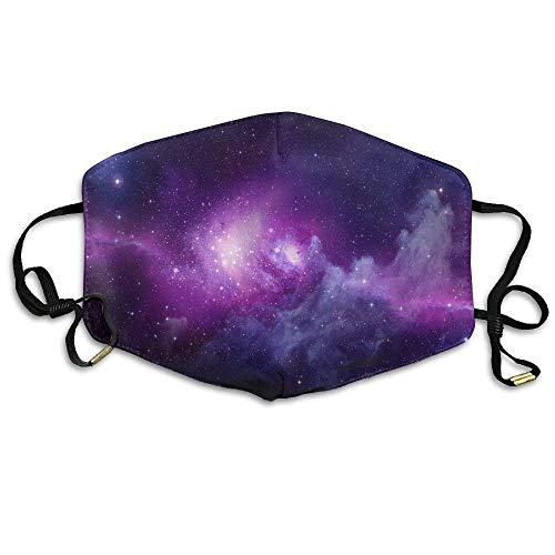 cvbnch Staubmaske Außenmaske Galaxy Space Purple Star Sky Printed Mouth Masks Unisex Anti-dust Masks Reusable Face Mask Soft and Breathable for Men Women Fashion Anime Black Nose Disposable Rave -