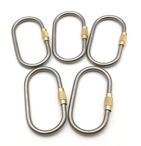 ZYVoyage Karabiner Schlüsselanhänger Karabinerhaken mit Schraubverschluss,Titan Legierung Haken D-Ring Haken Außen für Camping Wandern (nicht zum Klettern) (5 Stück)