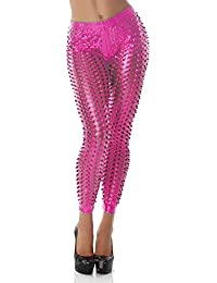 Women's Leggings Cutouts GoGo hole look Leather look Wet look gloss Pink 8-10