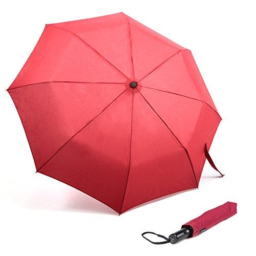OakLeaf Ombrello Pieghevole - Automatico Apri e Chiudi Ombrello Pioggia da Viaggio-funzione Antivento - Compatto Piccolo - Rosso