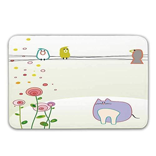 LIS HOME rutschfeste Fußmatten mit Gummirücken für Kleinkinder, Vogel- und Katzenfiguren im niedlichen Kinderzeichnungsstil mit blühenden Frühlingsblumen Fußmatte Fußmatten Teppiche Badematte