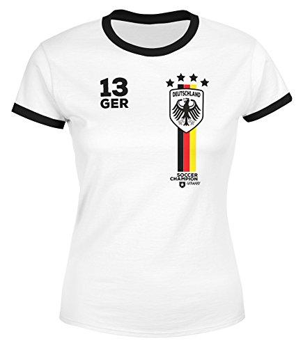 MoonWorks Damen Fan-Shirt Fußball Retro Deutschland Germany Weltmeisterschaft Fan-Trikot Style WM 2018 Weiß-Schwarz L -