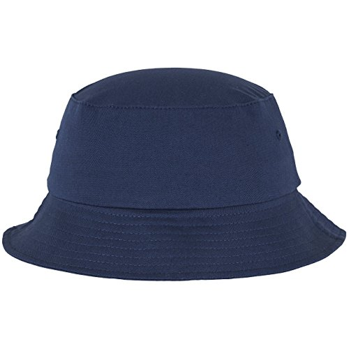 Flexfit Cotton Twill Bucket Hat - Unisex Anglerhut für Damen und Herren, einfarbig, mit patentiertem Flexfit Band, Farbe Blau, one size -