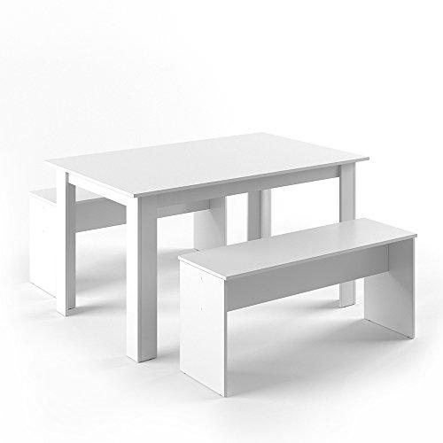 VICCO Tischgruppe 140 x 90 cm - 4 Personen - Esszimmer Esstisch Küche Sitzgruppe Tisch Bank - Bänke flexibel verstaubar (Weiß) -