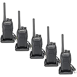 Retevis RT27 Walkie Talkie PMR 446 Recargable Profesional 0.5W Monitor sin Licencia 16 Canale Subtono 50CTCSS 210DCS VOX Escanear TOT con Cargador USB Universal(Negro,5 Pacs)
