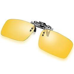 Glazata sonnenbrillen damen polarisiert sonnenbrillen clip herren auto brille sonnenbrille polarisiert linsen sonnenbrille uv schutz sonnenbrillen für brillenträger damen herren (Gelb, Clip)