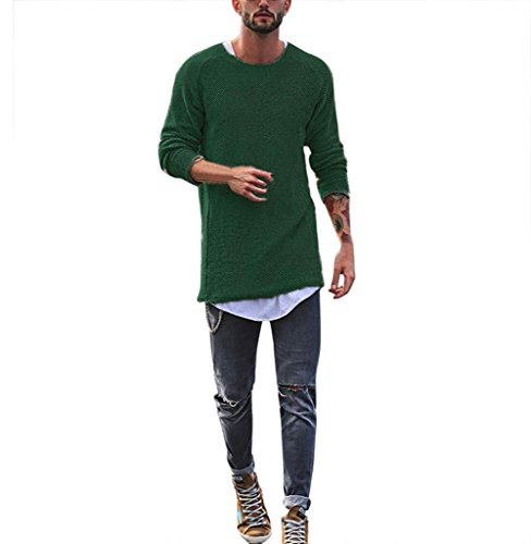 Tomatoa Herren Langarmshirt Bluse Lange Rundkragen Slim Fit T-Shirt Männer Pullover Sweatshirts Classics Hemden Tops Hoodie Hoody Motiv Long Sleeve Tee (Grün, S)