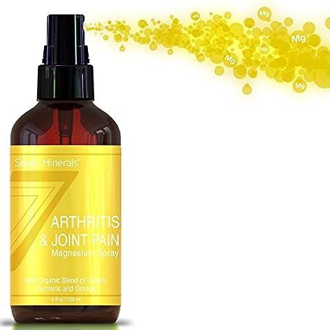 Spray de magnésium pour le soulagement de la douleur des articulations et des arthrites – Tout Naturel USDA fabriqué aux Etats-Unis avec des huiles essentielles organiques de curcuma, de gingembre et d'orange (120 ml)