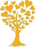 GRAZDesign 850128_40_020 Wandtattoo Baum aus Herzen mit Swarovski Kristallen | Wand-Aufkleber als Geschenk zur Hochzeit (54x40cm//020 Goldgelb//Swarovski Elements Set 12 Stück)