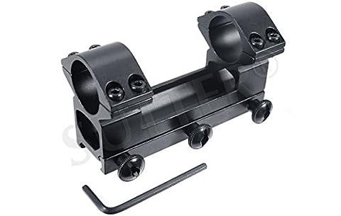 Rail de montage pour lunettes de visée / Pour rails de Weaver et Picatinny / Diamètre : ø 25,4mm / Hauteur : 60mm / Longueur : 100mm