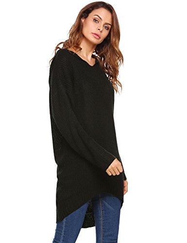 Damen Strickpullover Strickkleid Sweater Oversize Casual Lang Sweatshirt Strickpulli mit Kapuze V-Ausschnitt Winter Strick Oberteile Pulloverkleid Schwarz