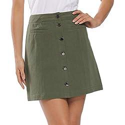 MISS MOLY Falda Mujer Elegantes Faldas Cortas con Botones Verano Verde Large