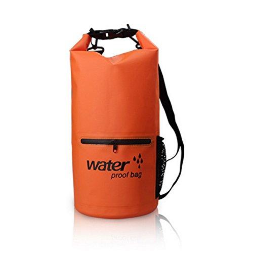 Acmebon Sacco sportivo impermeabile per sport all'aperto-Sacco impermeabile per il kayak,spiaggia,rafting,canottaggio,trekking,campeggio Nero 602-10 arancia