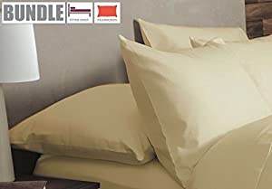 Belledorm Flannelette Fitted Sheet and Pillowcase Set - 100% Brushed Cotton - Mattress Depth 38cm Extra Deep