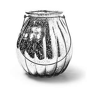 Glaslaterne Windlicht mit Henkel Pumpkin Kürbis Kerzenglas Laterne groß Silber Ø 18 cm, H. 24 cm Dekoglas als Tischdekoration