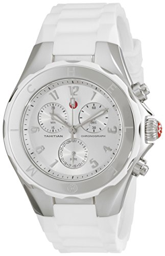 Michele Women's 40mm White Silicone Band Steel Case Quartz Silver-Tone Dial Chronograph Watch MWW12F000032