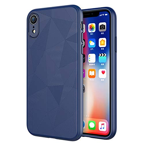 Schutzhülle für iPhone XR, Flexibles TPU Slim Scrub Cover [Water Cube Textur] [Unterstützt Wireless Charging] Anti-Fall Soft Case für iPhone XR 6.1 Zoll (2018), blau -