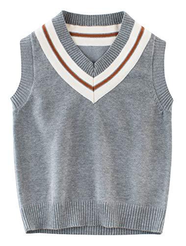 Binse Baby Jungen Weste Pullunder V Ausschnitt Ärmellos Pullover Baumwolle Sweatshirt Top Grau Weste Länge 40cm Baumwoll-pullover Weste