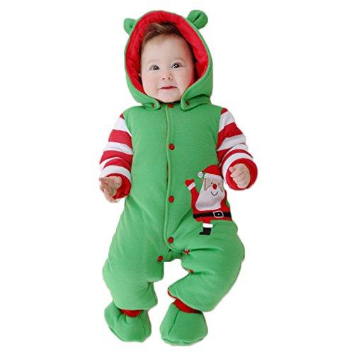 n Strampelanzug Winteroverall kostüm lange Ärmel Strampler Weihnachtskostüm Unisex Kleinkinder Warm Jumpsuits +Schuh (Santa Claus Kostüm Kleinkind)