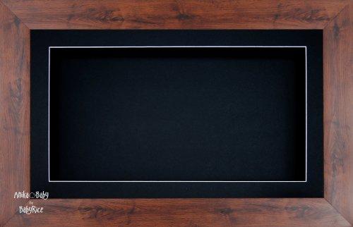 Anika 7 x 13/13 x 18 cm-Cadre-boîte en bois Imitation acajou Passe-Partout noir/fond &Verre 35,5 x 20,3 cm