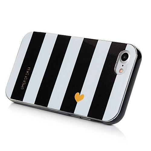 KASOS Coque iPhone 7, Coque Housse Case Bumper Étui de Protection en TPU Silicone Gel + PC Cadre Ultra Slim Mince Antichoc Housse iPhone 7 Coque Case Dessin Rayures Blanc Rayures Blanc