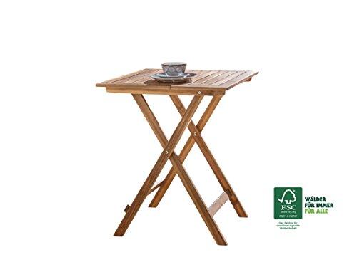 SAM® Gartentisch, klappbarer Balkontisch aus geöltem Akazienholz, FSC® 100% zertifiziert, ideal für Balkon Terrasse Garten und Wintergarten, ca. 60 x 60 cm [521224]