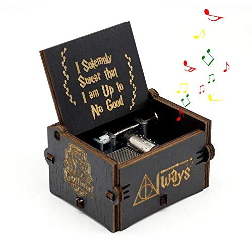 Caja de música de Hedwig, diseño de Harry Potter, manivela clásica de Madera Tallada Envejecida para cumpleaños
