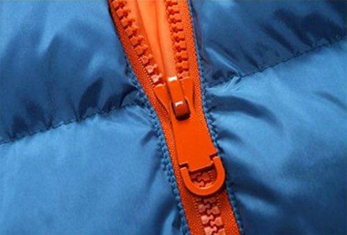 WSLCN Herren Schlicht Steppjacke Winter Jacke mit Kapuze Mantel Parka Einfarbig Blau / Orange