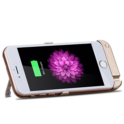 CaseforYou Batteriefach Hülle iPhone 6/ iPhone 6s 4.7 inch 10000mAh Taschen Schalen Akkus Rechargeable External Battery Backup Protective Case Power Bank Charger Cover with Kickstand Batteria Schützen Rose Gold